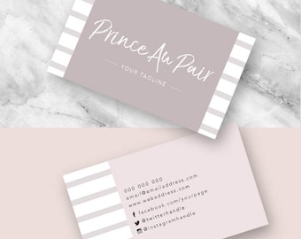 Business Cards, Calling Card, Marketing, Business, Elegant, Modern, Chic, Photoshop, Editable, Customisable, Design, Stripes, Taupe