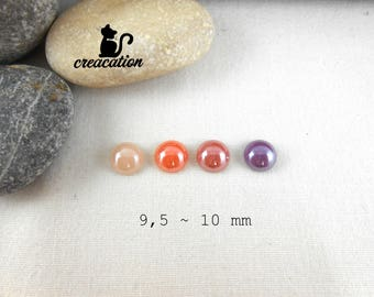4 glass Pearl cabochons, tender 9.5-10mm, round, dyed