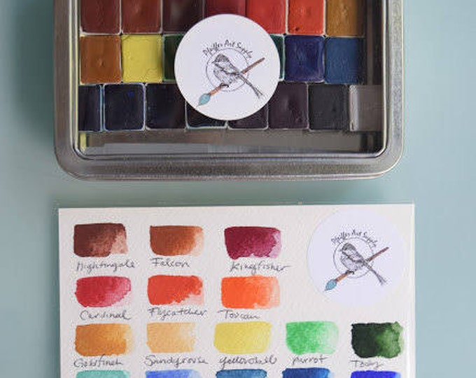 Featured listing image: Complete Watercolor Kit Handmade Set of 24 HALF pans of our non toxic watercolor paint kit - Comes with Tin and Waterbrush