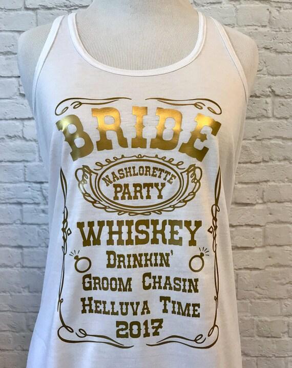 Bride Whiskey Custom Bachelorette Bridal Party Tank Top Flowy Racerback Tank Printed in Gold Metallic