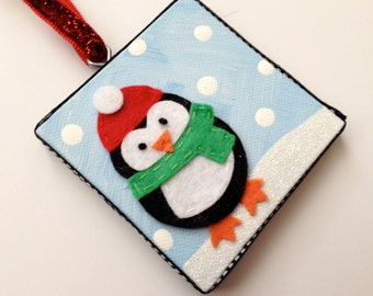Personalized felt penguin holiday ornament
