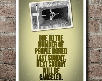 "M*A*S*H ""Sunday Will Be Canceled"" PA Announcement Poster"