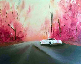 Oil painting Ferrari White Ferrari contemporary oil pallet knife painting original art stretched canvas landscape oil