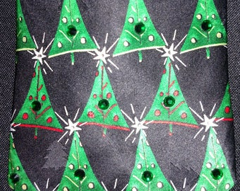 Holiday themed Christmas Tree rhinestone necktie