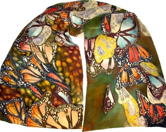 Silk scarf Butterflies in Green. Hand painted silk shawl, red, brown, orange painted silk scarves. Handpainted silk. Scarf Gift for her