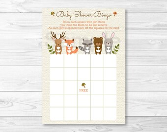 Woodland Forest Animal Baby Shower Bingo Cards / Woodland Baby Shower / Forest Animal Baby Shower / PRINTABLE INSTANT DOWNLOAD A187