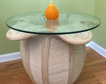 Sale! PENCIL REED Table Lotus/Blooming Lotus Zen Table/Rattan Table/Table/Beach Decor/Whitewash Table/Palm Beach/Yoga at Ageless Alchemy