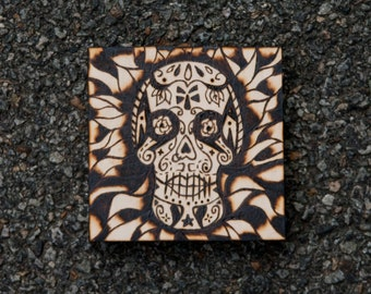 Sugar Skull Woodburning** Made to order