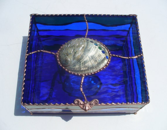 Large Gorgeous Cobalt Blue Abalone Shell Box Stained Glass