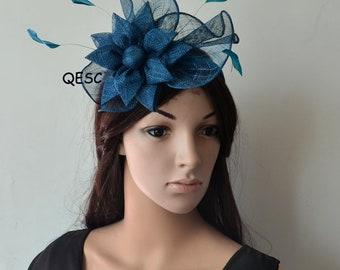 Petrol blue sinamay fascinator formal hat for Royal Ascot wedding kentucky derby tea garden party.