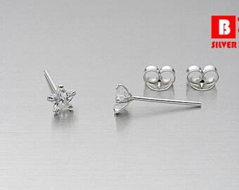 925 Sterling Silver Earrings, CZ Star Earrings, Cubic Zirconia Earrings, Stud Earrings, Size 4 mm (Code : EB127B)