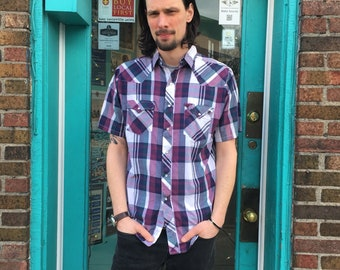 Mens vintage plaid pearl snap by Youngbloods Authentic Western  //  size large L // spring hipster rocker country southwestern cowboy