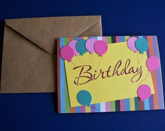 Birthday Balloons Greeting Card, handmade, new
