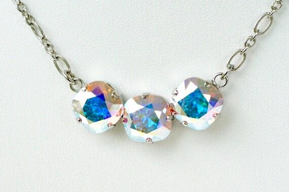 Swarovski Crystal Necklace 12MM Cushion Cut - Three Crystal Necklace Designer Inspired - Aurora Borealis Sparkle & Shimmer - FREE SHIPPING