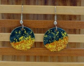 green & yellow small circle enamel earrings