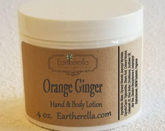 Eartherella ORANGE GINGER Hand and Body Lotion Jar 4 oz.