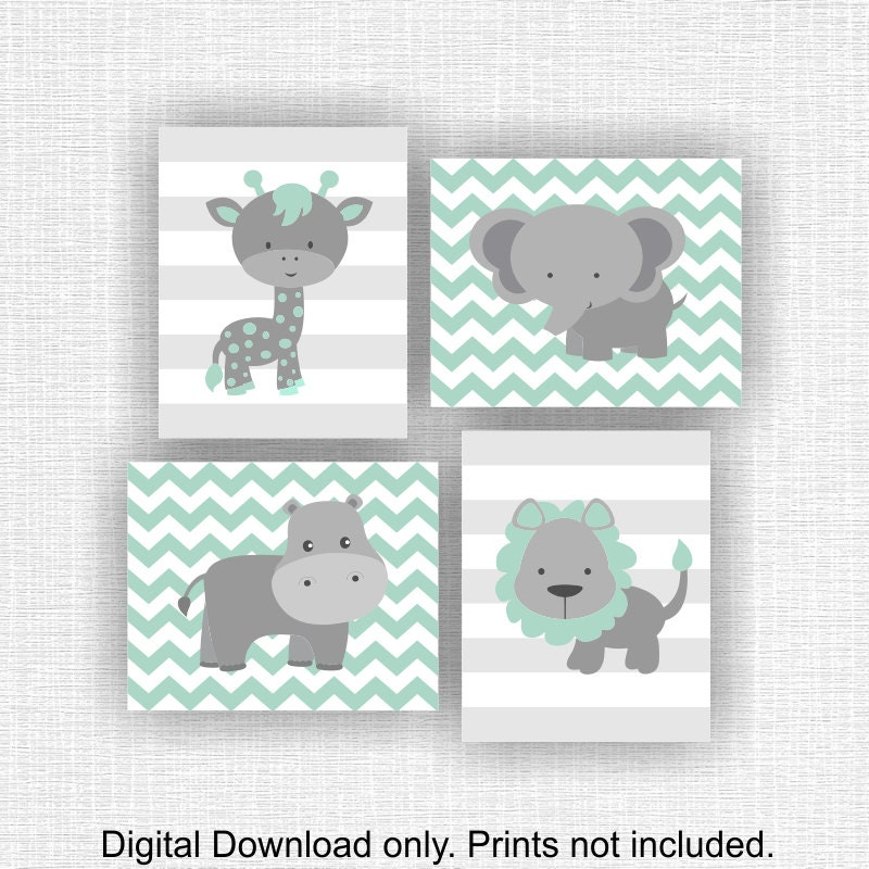 Sofortiger download mint und grau dschungel tiere kinderzimmer for Kinderzimmer grau mint