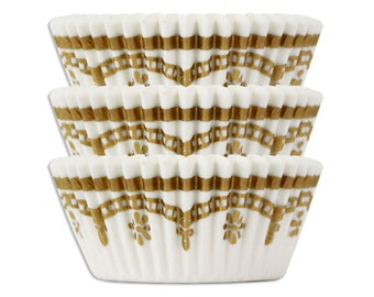 Gold Filigree Baking Cups - 50 paper cupcake liners