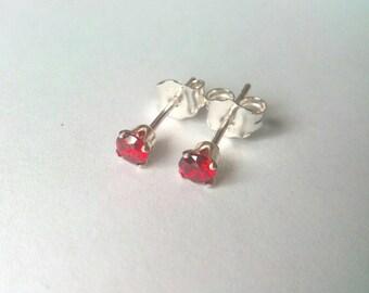 Red CZ Stud Earrings, 4mm Earrings, Sterling Silver Stud Earrings, Crystal Earrings, Gift for Her