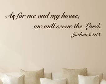 As For Me and My House Religious Wall Quote Decal