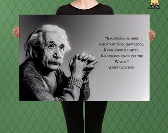 Albert Einstein Motivational Art, Inspirational Sketch Style, Power of Imagination, Custom Raised Canvas Art Piece