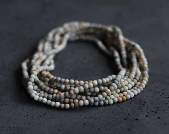 Earthy Boho Wrap Bracelet - Multi Strand Long Beaded Necklace - Jasper Jewelry