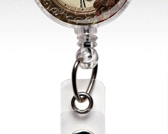 Steampunk Watch - Retractable ID Badge Holder - Name Badge Reel Clips - Nurse Badge 241