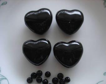 Bead Destash, Destash Beads, Ceramic Black Hearts 26X27 Set of 4, Jewelry Making Supplies, Bead Soup
