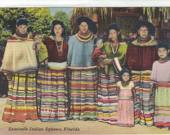 "Florida, Vintage Postcard, ""Seminole Indian Squaws, Florida,""  1950, #1300."