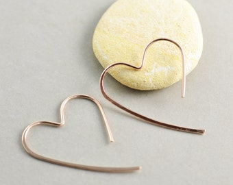 Rose Gold Heart Hoops, Large Heart Earrings, Bridesmaid, Valentine