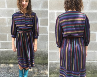 80s fiesta blanket bib dress w/ matching belt