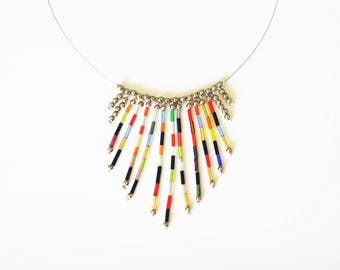 Multicolor Choker necklace with glass tube beads