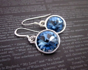 Denim Blue Jewelry, Women's Blue Crystal Earrings, Denim Blue Earrings, Denim Dangle Earrings, Silver & Denim Earrings, Denim Blue Gift