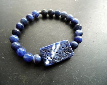 Bracelet, sodalite, Sodalitharmband, Blue, Zisilisiert, men, biker, jewelry