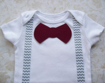Baby boy clothes,Preemie,Newborn take  home onesie,Grey Gray Chevron suspenders,Infant,Easter,Valentine's, Red Modern  bow tie