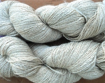 Hand spun Suri alpaca yarn, natural white