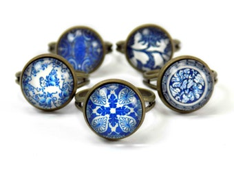 Adjustable Ring, Mandala Ring, Blue Boho Ring Delicate Floral Ring, Pottery Ring Ceramic Ring, Glass Dome Ring Willow Pattern Vintage Bronze
