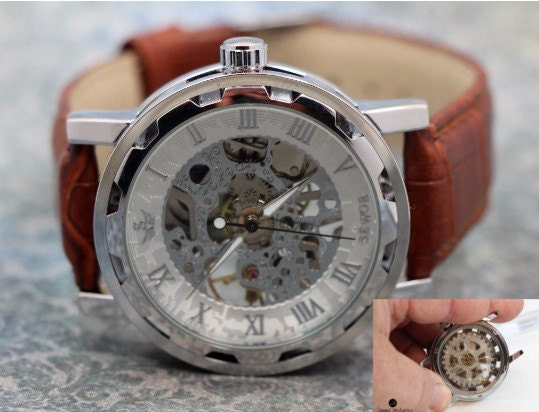 Personalized Engraved Man Watch Skeleton see thru front & back Mechanical watch men. Stainless Steel Case, Brown Leather Band w/white face