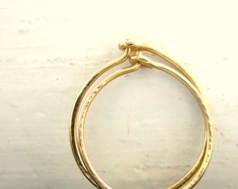 Gold Hoop Earrings, Classic Small Thin Hoops. Handmade