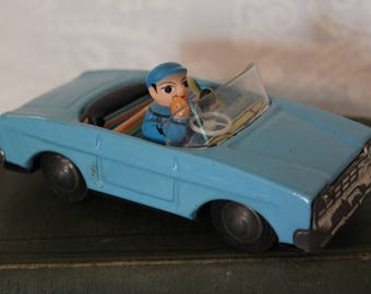 Vintage Blue Convertible Car Friction Toy with Waving Driver - Made in China, MF 171