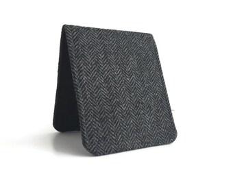 OhSoRetro Mens Wallet / Super Thin Billfold Wallet / Black Herringbone Wool / Customizable