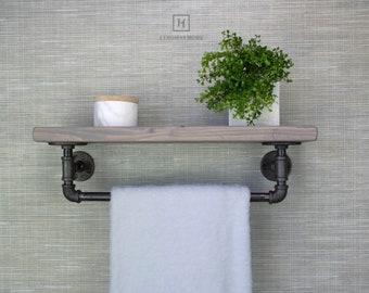 Floating Shelf with Towel Bar  Floating Shelves Floating Shelf Towel Rack Bathroom Farmhouse Decor Shelf Wood Floating Shelf