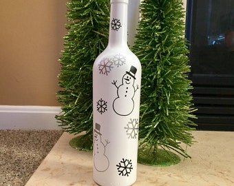 Snowmen & Snowflakes Double Sided Wine Bottle with Black and Silver