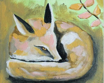 "Little Fox - Giclee from Acrylic Painting 6"" x 6"""