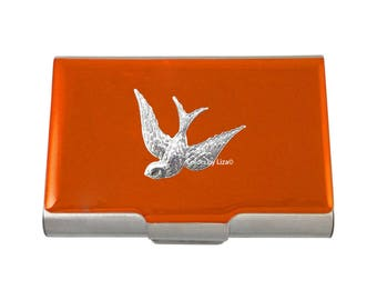 Swooping Swallow Large Business Card Case Hand Painted Orange Glossy Enamel with Personalized and Color Options