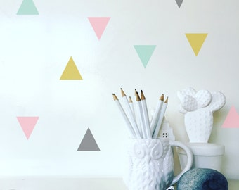 Geometric Triangle Shape Wall Decal Vinyl | Comes in 4 different trendy colors | 28 p/set | 5 x 5 cm p/p
