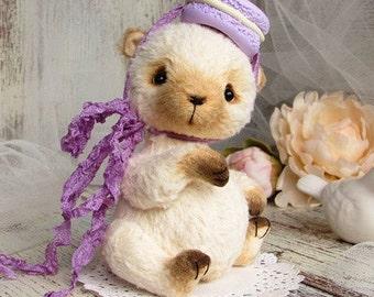 Bear artist teddy, sweet collectible toy, animal doll, stuffed baby bear, miniature plushie