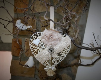 Fragrant shabby chic Wicker heart