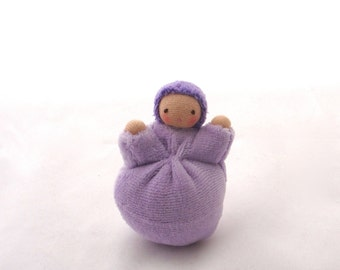 Waldorf toy natural fiber small pocket doll lavender sweet pea doll. SPN1