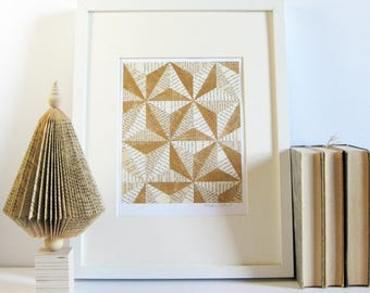 Gold Modern Art - Story Reconstructed No3b - Contemporary Art - Book Paper Collage - Modern Home Decor - Gold Wall Decor - Original Art